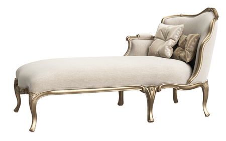 Classic chaise longue isolated on white background. Gilded woodcarving ,beige velvet,silk pillows. Digital illustration. 3d rendering Stock Photo