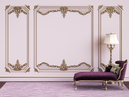 Classic furniture in purple an gold colors in classic interior with copy space.Pink walls with gilded mouldings. Digital Illustration.3d rendering