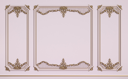 Classic interior walls with copy space.Pink walls with gilded mouldings. Digital Illustration.3d rendering