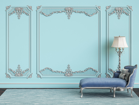 Classic furniture in blue and silver colors in classic interior with copy space.Blue walls with silver mouldings. Digital Illustration.3d rendering