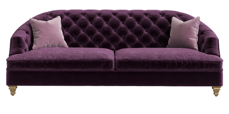 Classic tufted sofa purple color with 2 pink pillows isolated on white background.Front view.Digital illustration.3d rendering