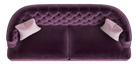 Classic tufted sofa purple color with 2 pink pillows isolated on white background.Top view.3d rendering Фото со стока