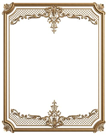 Classic moulding golden frame with ornament decor for classic interior isolated on white background. Digital illustration. 3d rendering