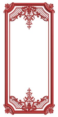 Classic moulding frame red color with ornament decor for classic interior isolated on white background. Digital illustration. 3d rendering