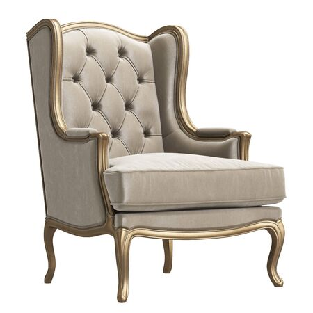 Classic armchair in ivory color velvet and gold isolated on white background.Digital illustration.3d rendering