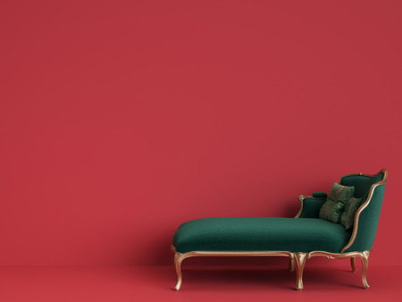 Classic Chaise Longue In Emerald Green And Gold On Red Background With Copy SpaceDigital