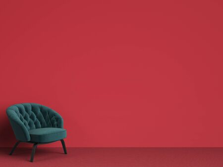 Classic tufted chair in emerald green on red background with copy space.Digital Illustration.3d rendering Stock Photo