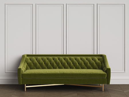 Classic sofa in classic interior with copy space.Walls with mouldings. Floor parquet herringbone.Digital Illustration.3d rendering Imagens