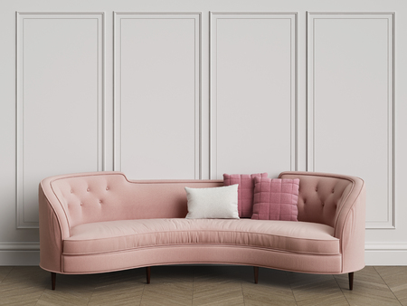 Classic sofa in classic interior with copy space.Walls with mouldings. Floor parquet herringbone.Digital Illustration.3d rendering Stock Photo