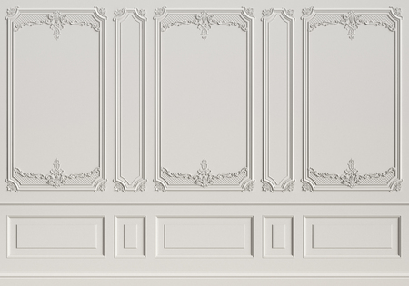 Classic interior wall with mouldings.Digital illustration.3d rendering Stok Fotoğraf - 102314100