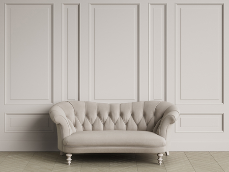 Tufted ivory color sofa in classic interior with copy space.White walls with mouldings. Floor parquet herringbone.Digital Illustration.3d rendering