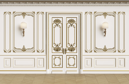 Classic interior walls with copy space.Walls with mouldings,ornated cornice. Floor parquet herringbone.Classic door with decoration.Sconces on the wall.Digital Illustration.3d rendering Stock Photo