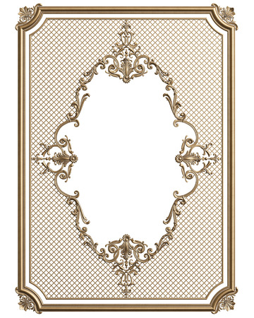 Classic moulding frame with ornament decor for classic interior isolated onwhite background. Digital illustration. 3d rendering Stock Photo
