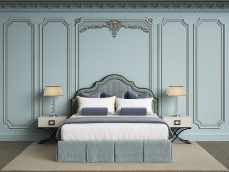 Classic bedroom furniture in classic interior.Blue walls with gilded mouldings,ornated cornice.Digital illustration.3d rendering
