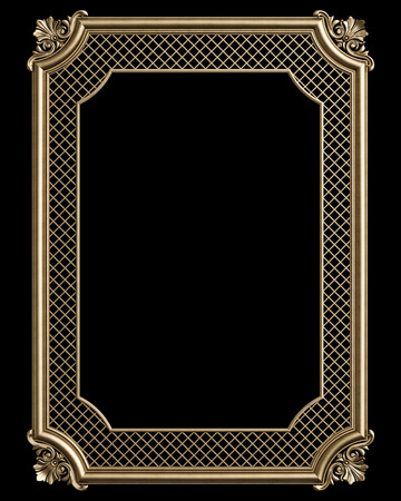 Classic decor frame with ornament decor  isolated on black background. Digital illustration. 3d rendering