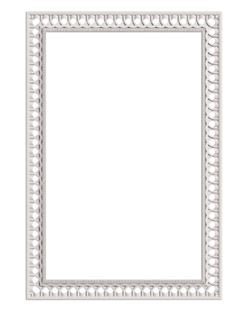Classic moulding white frame with ornament decor isolated on white background. Digital illustration. 3d rendering