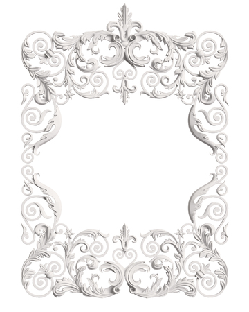 Classic moulding white frame with ornament decor for classic interior isolated on white background. Digital illustration. 3d rendering