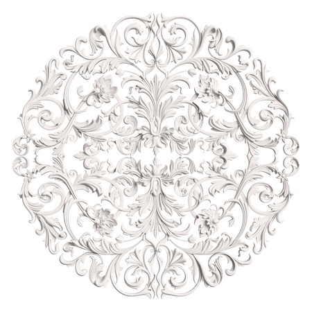 Classic ornament decor isolated on white background. Digital illustration. 3d rendering