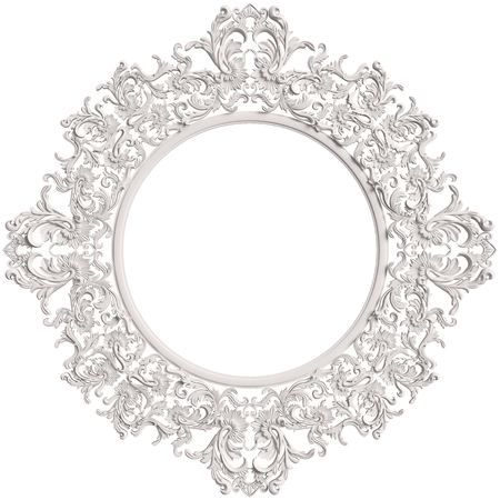 Classic white round frame with ornament decor isolated on white background. Digital illustration. 3d rendering Stock Photo