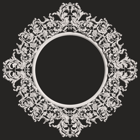 Classic white round frame with ornament decor isolated on  dark grey background. Digital illustration. 3d rendering Stock Photo