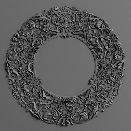 Classic decor with ornament decor in black color on the black wall. Digital illustration. 3d rendering
