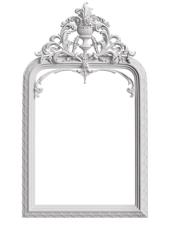 Classic frame with ornament decor isolated on white background. Digital illustration. 3d rendering Stock Photo