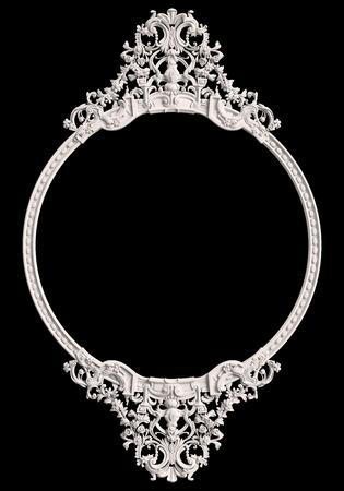Classic frame with ornament decor isolated on black background. Digital illustration. 3d rendering