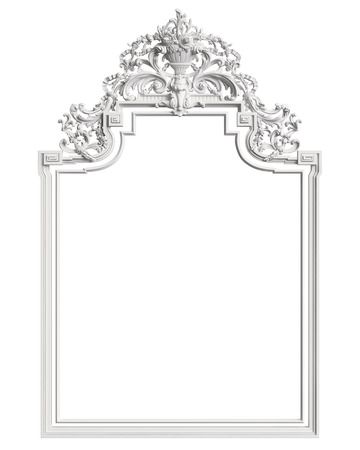 Classic frame with ornament decor isolated on white background. Digital illustration. 3d rendering 스톡 콘텐츠