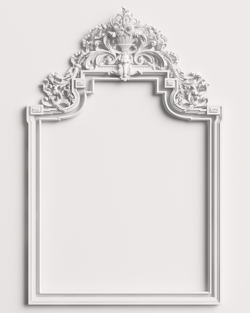 Classic frame with ornament decor on white wall. Digital illustration. 3d rendering