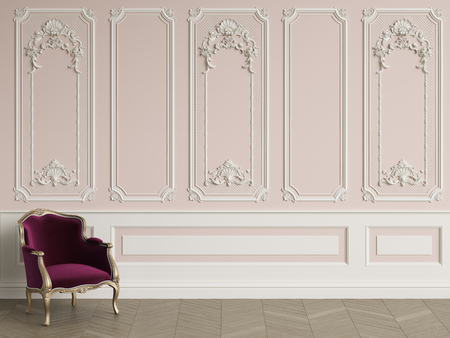 Classic armchair  in classic interior with copy space.Walls with mouldings. Floor parquet herringbone.Digital Illustration.3d rendering Stockfoto