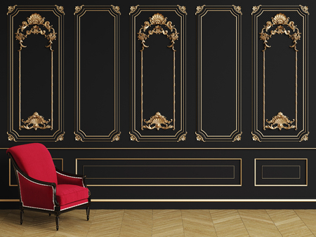 Classic armchair  in classic interior with copy space.Black walls with gilded mouldings. Floor parquet herringbone.Digital Illustration.3d rendering Stock Photo