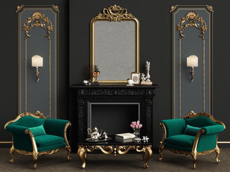 Classic interior with decorated fireplace. Gilded mirror,walls with mouldings. Classic armchairs,carved table with decor.Floor parquet herringbone.Digital Illustration.3d rendering Stock Photo