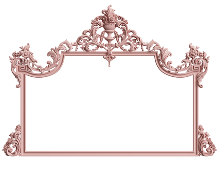 Classic frame with ornament decor in pastel pink color isolated on white background. Digital illustration. 3d rendering