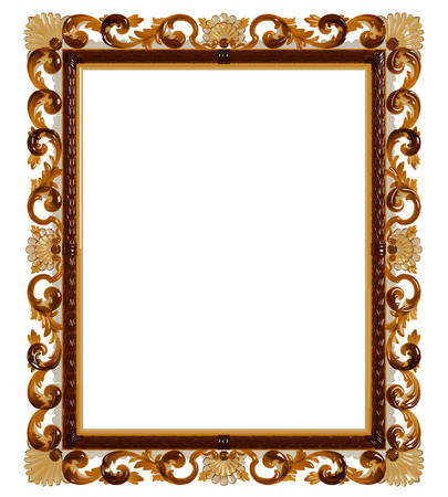 Classic frame with ornament decor made in yellow glass isolated on white background. Digital illustration. 3d rendering 스톡 콘텐츠