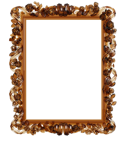 Classic frame with ornament decor made in yellow glass isolated on white background. Digital illustration. 3d rendering Stock Photo