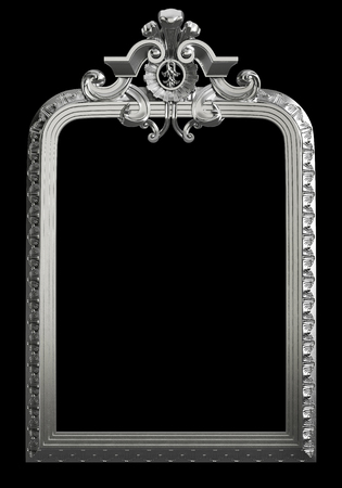 Classic metall frame with ornament decor isolated on black background. Digital illustration. 3d rendering