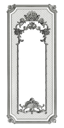 Classic metall frame with ornament decor isolated on white background. Digital illustration. 3d rendering