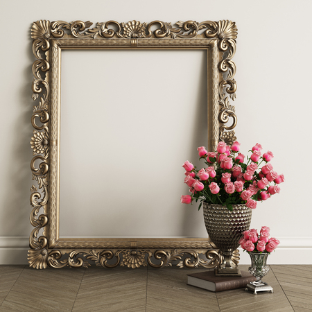 Classic carved mirror frame with copy space. Big vase with pink roses on the floor.Digital Illustration.3d rendering Stok Fotoğraf - 112665313