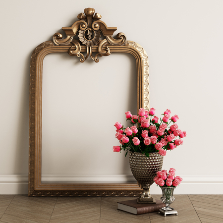 Classic carved mirror frame with copy space. Big vase with pink roses on the floor.Digital Illustration.3d rendering
