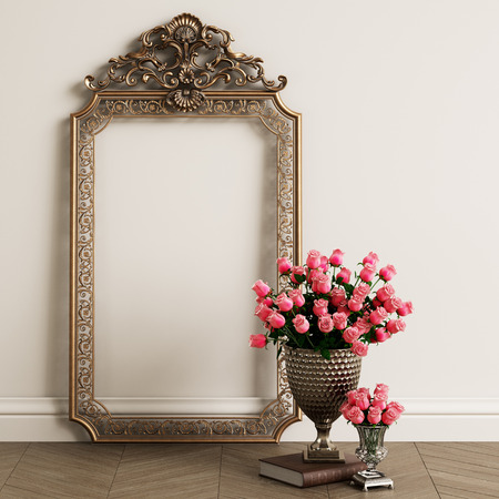 Classic carved mirror frame with copy space. Big vase with pink roses on the floor.Digital Illustration.3d rendering Imagens