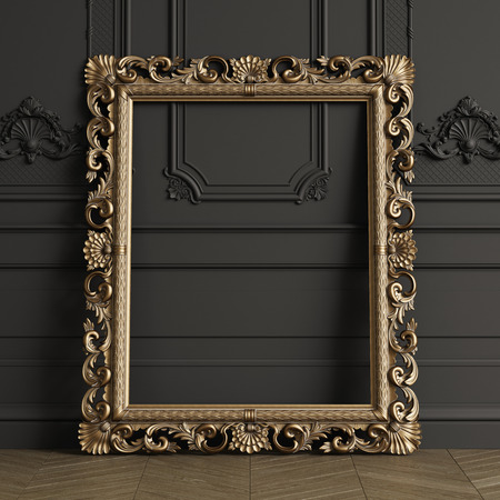 Classic carved gilded mirror frame mockup with copy space. Black walls with ornated mouldings. Floor parquet herringbone.Digital Illustration.3d rendering Stok Fotoğraf