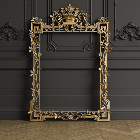 Classic carved gilded mirror frame mockup with copy space. Black walls with ornated mouldings. Floor parquet herringbone.Digital Illustration.3d rendering Stock Photo