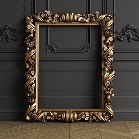 Classic carved gilded mirror frame mockup with copy space. Black walls with ornated mouldings. Floor parquet herringbone.Digital Illustration.3d rendering 스톡 콘텐츠
