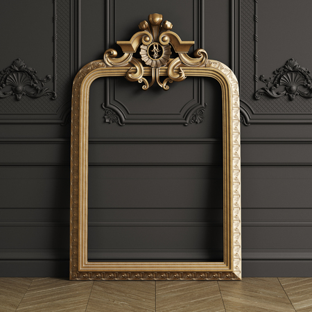 Classic carved gilded mirror frame mockup with copy space. Black walls with ornated mouldings. Floor parquet herringbone.Digital Illustration.3d rendering Stok Fotoğraf - 112669535