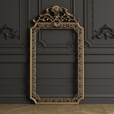 Classic carved gilded mirror frame mockup with copy space. Black walls with ornated mouldings. Floor parquet herringbone.Digital Illustration.3d rendering Stockfoto