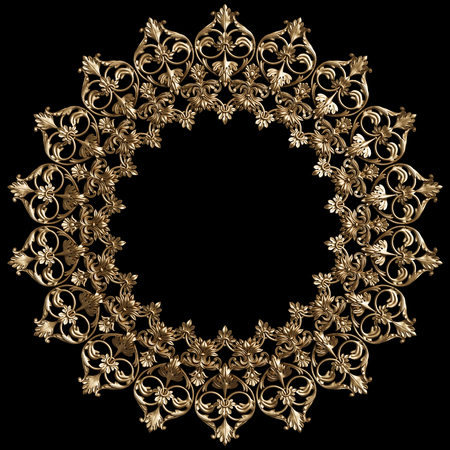 Classic golden round frame with ornament decor isolated on black background. Digital illustration. 3d rendering Stock Photo