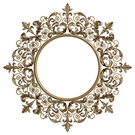 Classic golden round frame with ornament decor isolated on white background. Digital illustration. 3d rendering