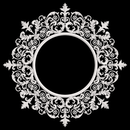 Classic white round frame with ornament decor isolated on dark grey background. Digital illustration. 3d rendering