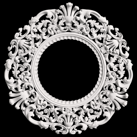 Classic white round frame with ornament decor isolated on black background. Digital illustration. 3d rendering Stock Photo
