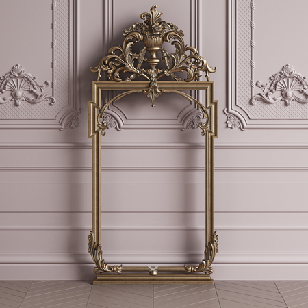 Classic carved gilded mirror frame mockup with copy space.Pastel pink color walls with ornated mouldings. Floor parquet herringbone.Digital Illustration.3d rendering